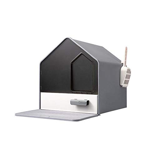 ZWH Jumbo Fully Enclosed Cat Litter Box, Covered Falling Sand Pedal Litter Box with Front Entry Odor Close Door, Hooded Cat House Cat Litter Scoop Included,Gray,with pad
