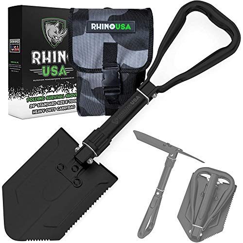 Rhino USA Survival Shovel w/Pick - Heavy Duty Carbon Steel Military Style Entrenching Tool for Off Road, Camping, Gardening, Beach, Digging Dirt, Sand, Mud & Snow. (Folding Shovel)